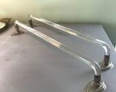 Pair Vintage Glass Towel Bars