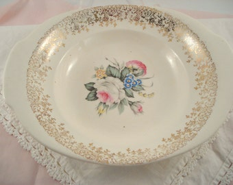 Vintage Serving Bowl Salem China Royal Rose Bouquet Small Bowl with Handles Pink Rose Shabby Cottage Chic Vintage Bridal Shower