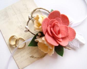 Wedding Corsage, Mother Corsage, Wrist Corsage, Felt Flower, Coral Peach, Ribbon Tie Corsage, Wedding Wristlet, Wedding Party, Coral Wedding