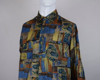 Abstract 90s Silk Shirt