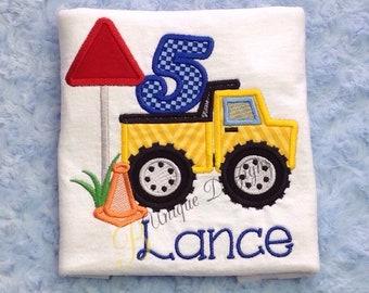 Appliqué Construction Shirt, Dump Truck Birthday Shirt, Boys Birthday T-Shirt, Boys Applique Shirt, Tops, Truck Birthday, Dumptruck  Shirt