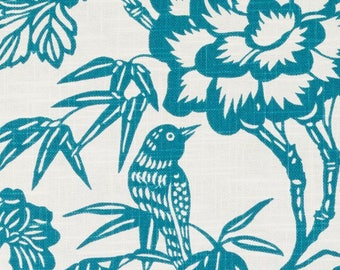 Modern Bird Upholstery Fabric by the Yard - Teal Linen Curtains - Animal Teal Large Scale Curtains - Artistic Teal Pillows with Birds