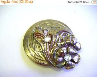 30% Off Storewide Deco Style Silver Floral Brooch or Pin With Rhinestones