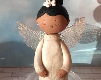 Black Angel,Custom Angel ornament,polymer clay ornaments,African American Angel,handmade clay Angel