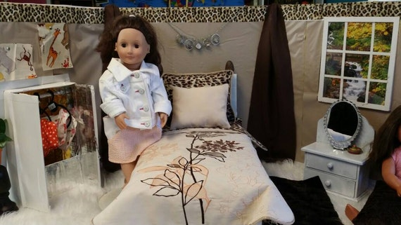 """6 piece  Bedding Ensemble for 18"""" dolls like American Girl /Our Generation."""