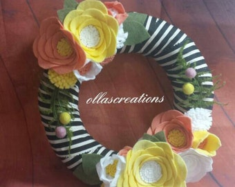 Summer wreath - yellow wreath - spring wreath - felt flower wreath