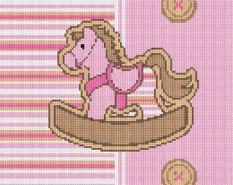 Needlepoint Kit or Canvas: Striped Horsey Pink