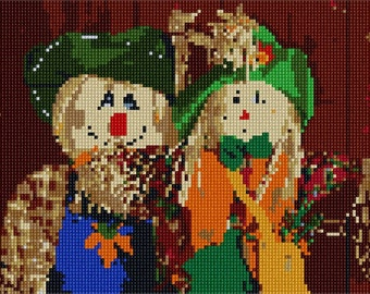 Needlepoint Kit or Canvas: Scarecrow Friends
