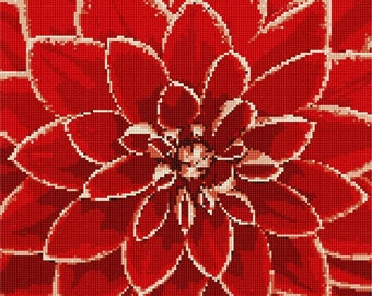 Needlepoint Kit or Canvas: Red Dahlia Up Close