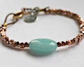 Aquamarine and Copper Leather Bracelet