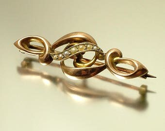 Vintage/ antique/ estate jewelry Edwardian 1900s 9ct gold/ 9kt gold and seed pearl bar brooch / pin - jewellery / jewelry