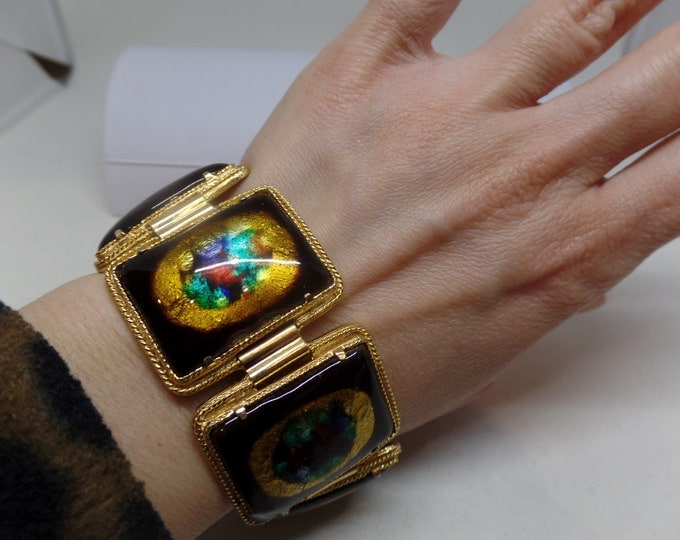 Gorgeous Vintage Enamel Panel Bracelet Numbered 4327