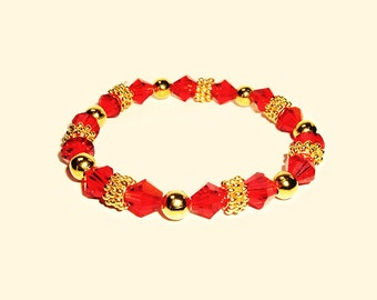 Red Crystals and Gold Beaded Bracelet