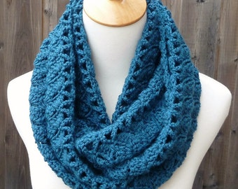 ON SALE - Teal Infinity Scarf - Dark Teal Infinity Scarf - Crochet Infinity Scarf - Circle Scarf - Ready to Ship