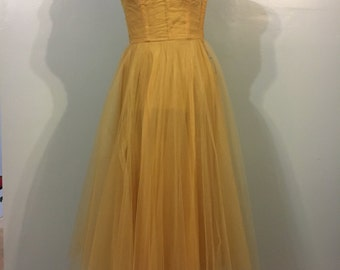1950s peach strapless ball gown prom dress wedding