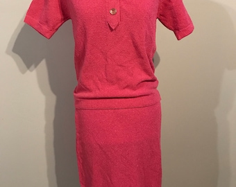 1950s bubblegum pink two piece dress skirt shirt wiggle