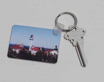 Key Tag, Whitefish Point Lake Superior Michigan Lighthouse Design, Photograph, Key Ring