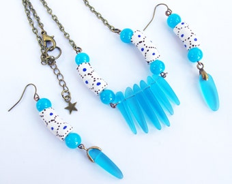 primitive necklace and earrings blue african beads sea glass