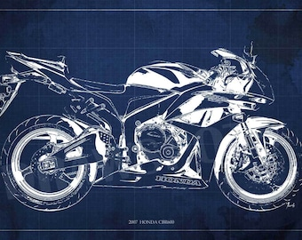 Motorcycle poster 2013 HONDA CBR600RR Blueprint, Art Print 14x9.63in and larger sizes, Motorcycle Art print,Original Drawing for men cave