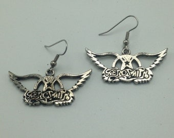 Deadstock AEROSMITH Earrings Pewter Vintage Die Cut Metal Earring 80's 90's metal Rock Jewelry Dream On