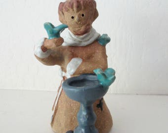 """Metlox Poppytrail """"St. Francis Monk"""" Poppet Clay Figurine, Designed by Helen Slater, Circa 1970s, Collectible"""