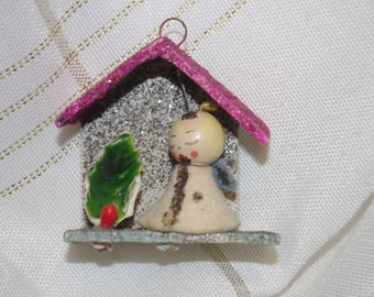 Vintage Tiny Putz Christmas House Mica Angel Holly Leaf
