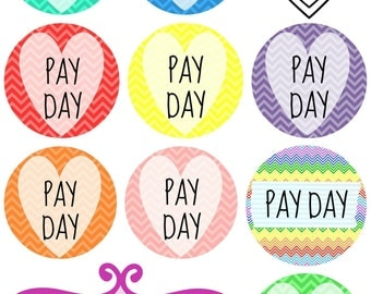 108 Planner Stickers -- Pay Day Printable Planner Sticker Bundle