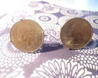 1 Pair of U.S. Goldplated Quarter Cufflinks