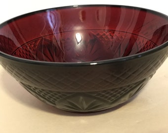 Bowl Red Glass Vintage Mid Century Dishes Small