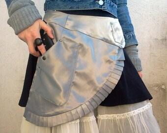 FREE SHIPPING Silver asymmetrical apron belt