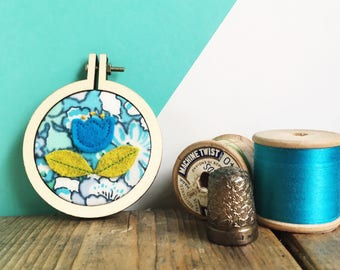 mini scandi flower hoop art - mini embroidery hoop art - Liberty Lifestyle fabric - turquoise flower - embroidered picture - new home gift