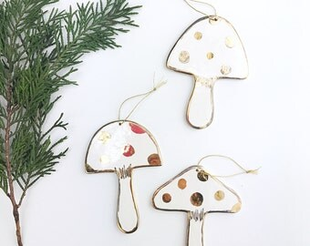 Mushroom Ornaments Set of 3 White And 22k Gold Minimal Holiday Ornament Christmas Gift Keepsake Decor Porcelain Pottery READY To SHIP
