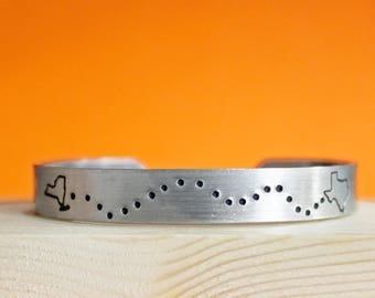 Custom State Bracelet, Travel Home Moving Jewelry, My Heart Is In, Long Distance Relationship Cuff, Friends Military Family Location