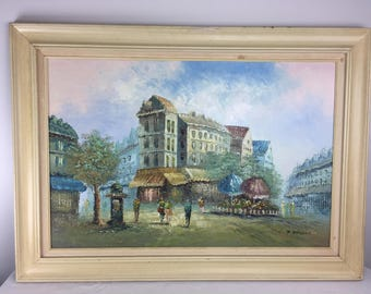 P. Rembert Signed Oil On Canvas Paris Street Scene - Mid Century French Artwork Wall Hanging Framed Art -  Vintage Home Decor Cottage Chic