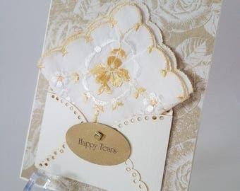 Bridal Hankie Card Vintage Embroidered Gold Roses Mother Grandmother Bridal  Keepsake Gift  Happy Tears Summer Wedding Cardd
