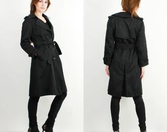 Vintage Modessa Coat / Black Trench Coat / Woman Coat / Spring Coat / 90s Coat
