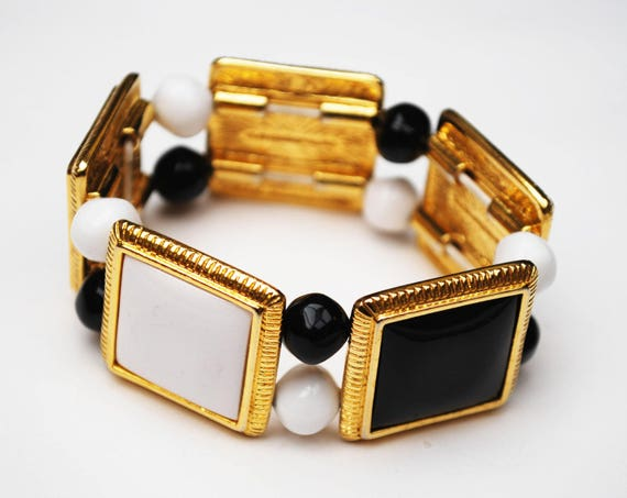 Liz Claiborne  Stretch Bracelet - black and white - gold panel and beads - Bangle