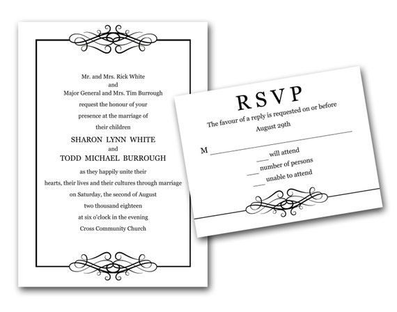 Elegant Inexpensive Wedding Invitations: Elegant Loops Wedding Invitations, Set Printed