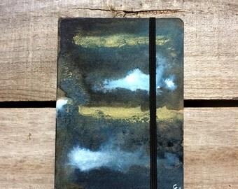 watercolour notebook, gold black & blue sketch book, hand painted art journal, A6 stocking stuffer