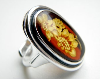 SALE 20% OFF!!! Use the coupon code: SALE20 Hand carved baltic amber sterling silver ring - adjustable