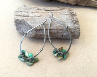 turquoise silver earrings, beaded cluster, silver boho earrings, rustic beaded, green, blue, genuine turquoise chips