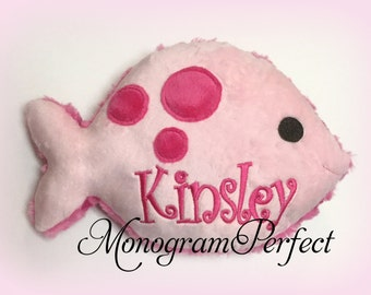 Personalized Hot Pink / Light Pink Plush Fish Pillow, Soft Toy