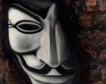 "Guy Fawkes 5""x7"" Unframed Art Print by Jamie Rice- Anonymous, Political Art, Wall Decor, Desk Art"