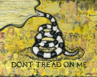 "Gadsden Flag- 5""x7"" Unframed Art Print by Jamie Rice- Dont Tread on Me, Snake, Political Art,  Wall Decor"