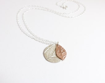Silver Disc Necklace - Copper Necklace - Delicate Necklace - Nature Necklace - Gifts for Her - Round Pendant - Leaf Necklace
