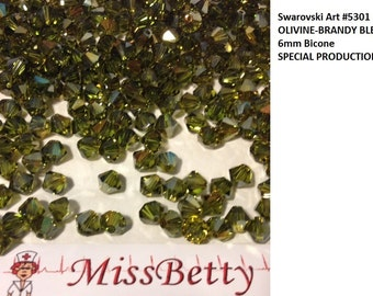 36+ Swarovski OLIVINE and BRANDY Blend 6mm Bicones, Article 5301, New in Package