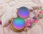 Round 15mm Matte Rainbow Helio Green Glass Cabochons Preciosa Flat Back Stones Rainbow Cabs - 4