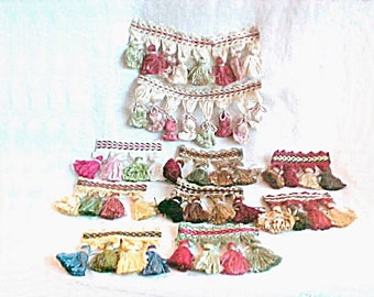 Vintage Tassel Fringe Supply - Short Lengths of Thick Dense High End Luxury Upholstery Edging - Doll Clothes - Mixed Media - Garland Trim