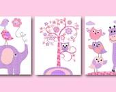 Pink Purple Elephant Nursery Canvas Wall Decor Owl Nursery Baby Girl Nursery Art Print Nursery Wall Art Kids Room Decor Kids Art set of 3