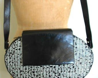 Vintage Leather Handbag by Designer Charles Jourdan, Made in France